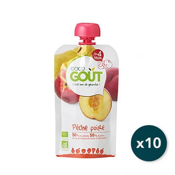 img-good-gout-pack-gourde-x10-poire-peche-des-4-mois-120g-bio