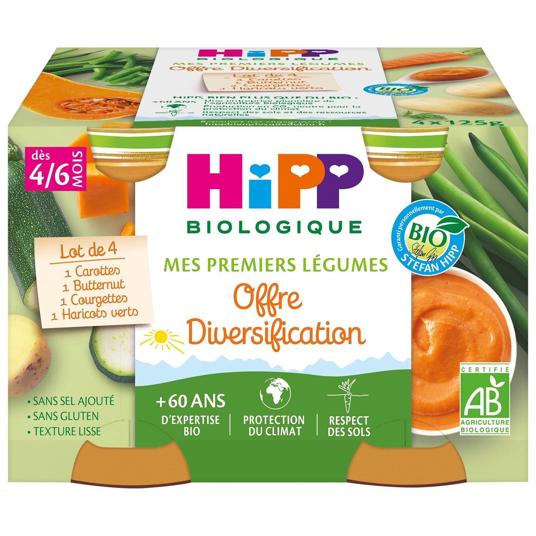 img-hipp-petits-pots-diversification-carottes-haricots-verts-courgettes-potiron-des-4-6-mois-4x125g-bio