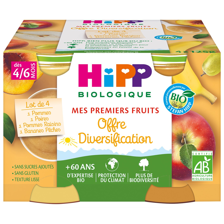 img-hipp-petits-pots-diversification-pommes-poires-bananes-peches-pommes-raisins-des-4-6-mois-4x125g-bio